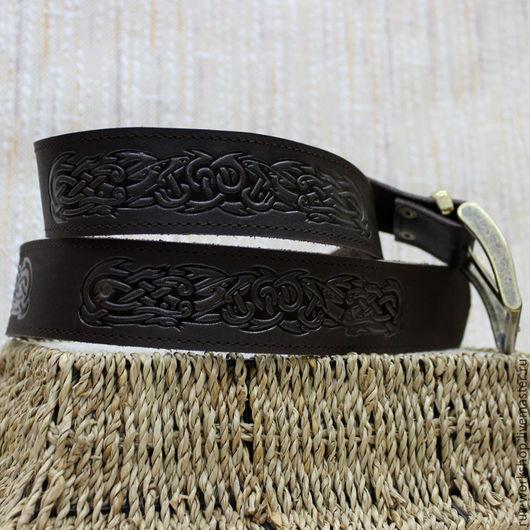 """Пояса, ремни ручной работы. Ярмарка Мастеров - ручная работа. Купить Ремень кожаный """"Кельтский узор"""". Handmade. Коричневый"""
