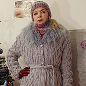 Одежда handmade. Livemaster - original item Knitted jacket with buttons with fur collar.. Handmade.