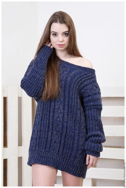 Свитер, женский свитер, вязаный свитер, свитер из шерсти, свитер с косами, свитер спицами, ручная работа, темно-синий свитер, меланж, шерстяной свитер, весенняя мода, осенняя мода, комфорт