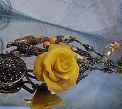 Украшения ручной работы. Ярмарка Мастеров - ручная работа бусы с желтой розой. Handmade.