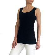 Одежда ручной работы. Ярмарка Мастеров - ручная работа Чёрной женский кроп топ, топ для спорта, одежда для йоги, чёрной топ. Handmade.