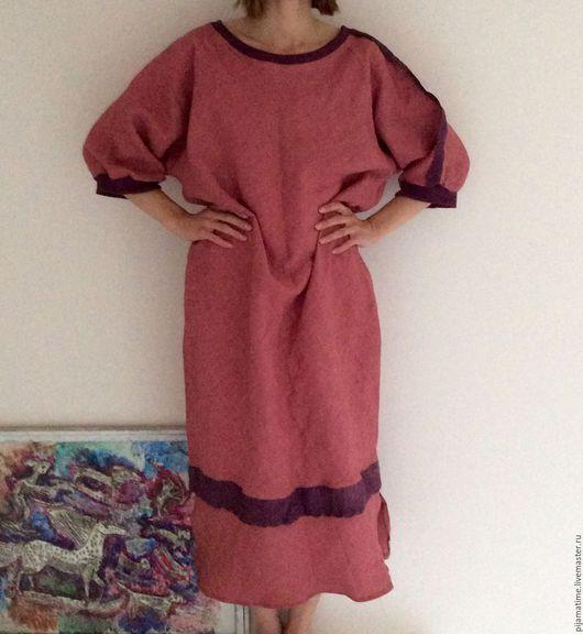 Платья ручной работы. Ярмарка Мастеров - ручная работа. Купить Льняное длинное платье клубника со сливками по косой. Handmade.