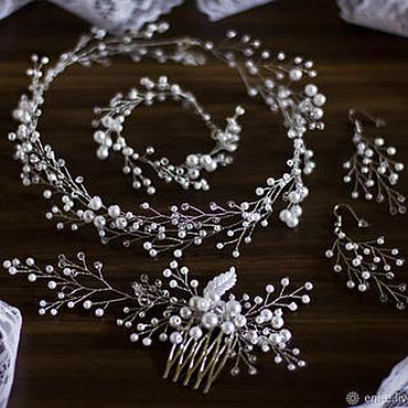 Свадебный салон ручной работы. Ярмарка Мастеров - ручная работа Свадебные колье, серьги, гребень и браслет, белый или айвори. Handmade.