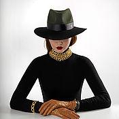 Hats1 handmade. Livemaster - original item Black&green. Handmade.
