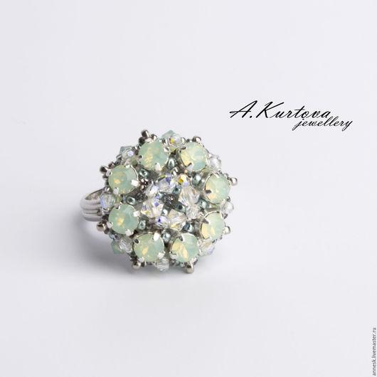 Кольца ручной работы. Ярмарка Мастеров - ручная работа. Купить кольцо Эдельвейс в мятном цвете. Handmade. Мятный, колечко, бисер