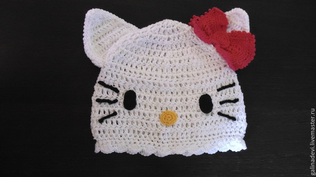 HAT-CAT 'Hello Kitty' knitted summer, Caps, Moscow,  Фото №1