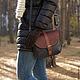 Женские сумки ручной работы. Заказать Кожаная сумка на плечо. Тёмно-синий, коричневый.. Ирина Болдина. Кожаные сумки.. Ярмарка Мастеров.