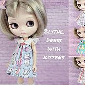 Куклы и игрушки handmade. Livemaster - original item For Blythe dress with cats. Different shades. Handmade.