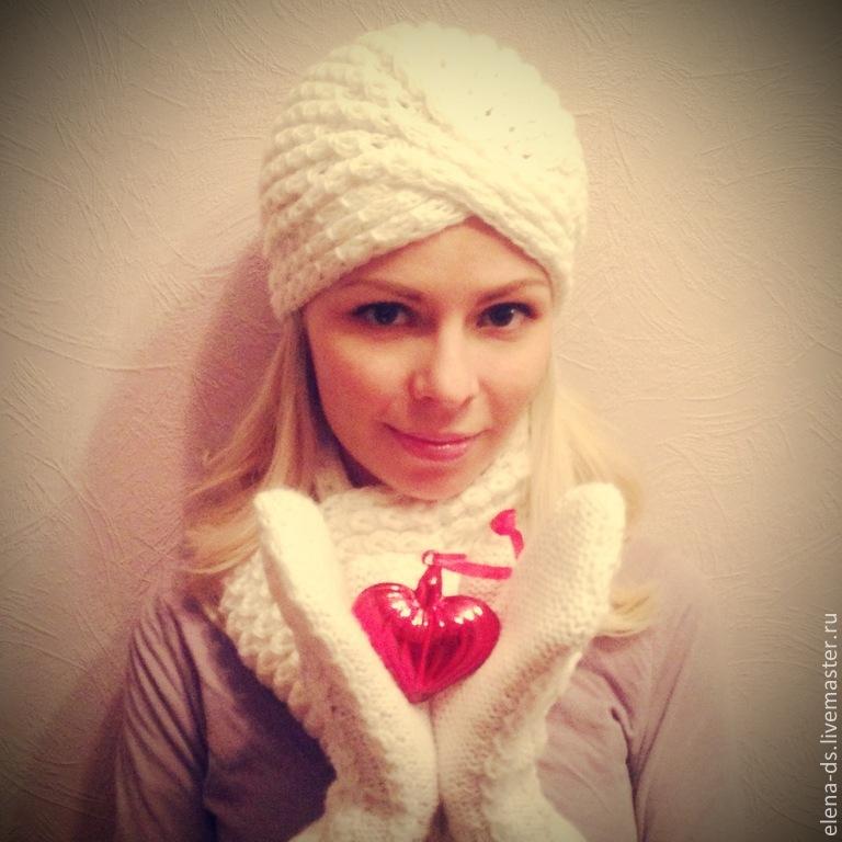 Белый, вязаная шапочка, зимний