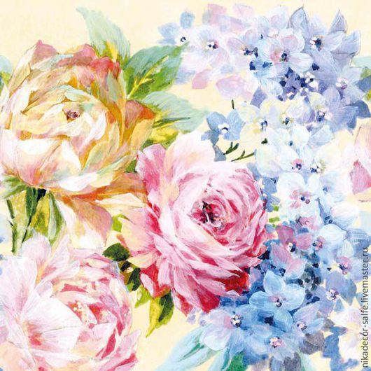 Декупаж и роспись ручной работы. Ярмарка Мастеров - ручная работа. Купить Нарисованные цветы (12506610) 25х25 салфетка для декупажа. Handmade.