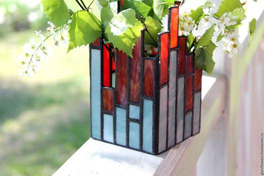 подарок на новоселье, подарок на свадьбу, для дачи, подарок, подсвечник стеклянный купить, сувенир из стекла, украшение интерьера, красный подсвечник, голубой подсвечник, витражные сувениры, витражи