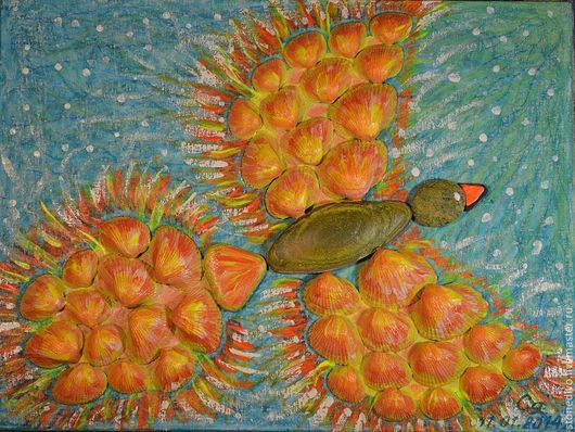 "Картина  ""Жар-птица""\r\nОснова - оргалит+холст+масляная пастель\r\nМорские камушки, ракушки, покрытые маслом"