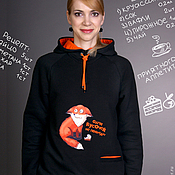 Одежда handmade. Livemaster - original item Women`s Fox sweatshirt, warm hoodie. Handmade.