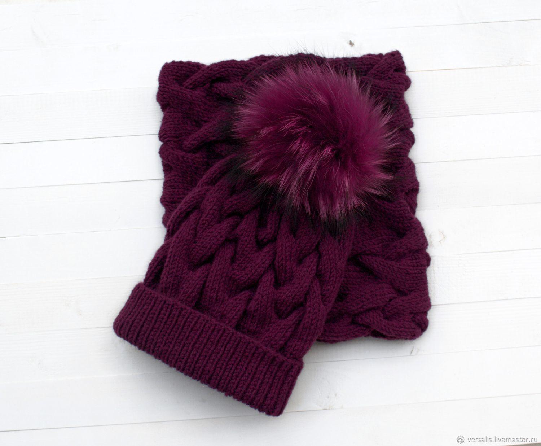 Комплект: шапка женская вязаная, шарф снуд, Шапки, Санкт-Петербург,  Фото №1