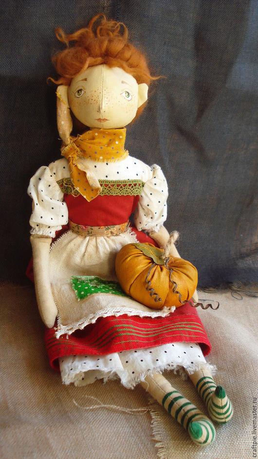 """Куклы тыквоголовки ручной работы. Ярмарка Мастеров - ручная работа. Купить Текстильная куколка """"Рыжеволосая  тыквоголовка"""". Handmade. Ярко-красный"""