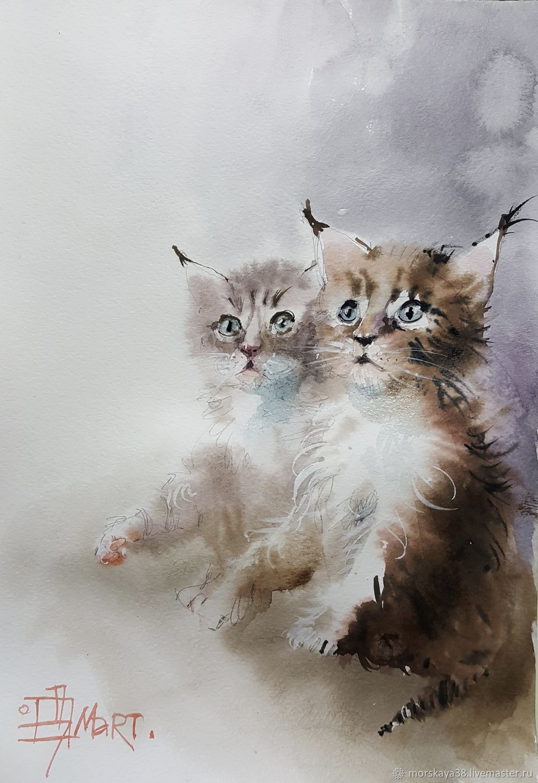 Animal Painting handmade. Livemaster - handmade. Buy Children.Kitty, cats, cat, watercolor, cat lover, combo, kittens
