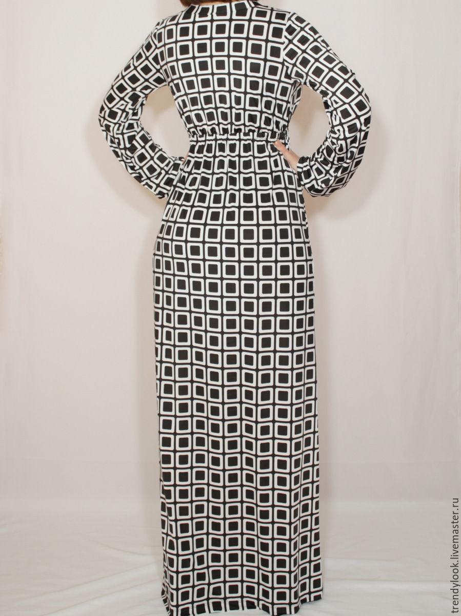 Платье черно белый квадрат