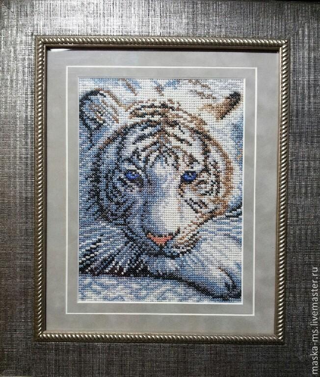Тигр. Картина. Вышивка крестом, Животные, Сургут, Фото №1