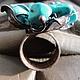 Кольца ручной работы. Кольцо из меди «Цвет бирюзы» (color turquoise). Своя История. Ярмарка Мастеров. Кольцо с камнями, медь