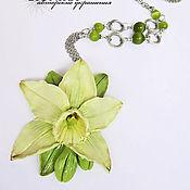 Украшения handmade. Livemaster - original item Large pendant made of polymer clay with flower of vanilla