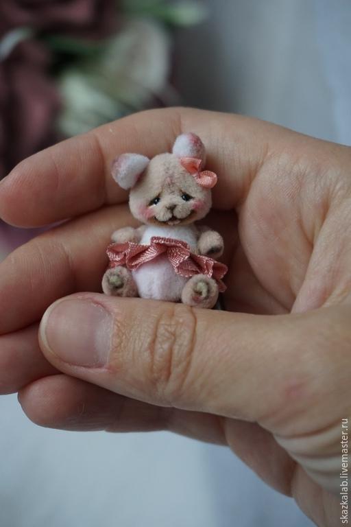 Мишки Тедди ручной работы. Ярмарка Мастеров - ручная работа. Купить Розочка (3 см). Handmade. Кремовый, миниатюра