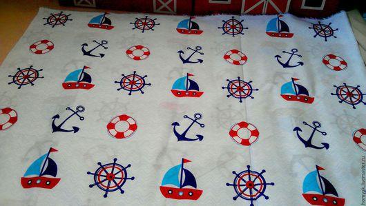 Шитье ручной работы. Ярмарка Мастеров - ручная работа. Купить Ткань хлопок детская морская. Handmade. Комбинированный, ткань для творчества