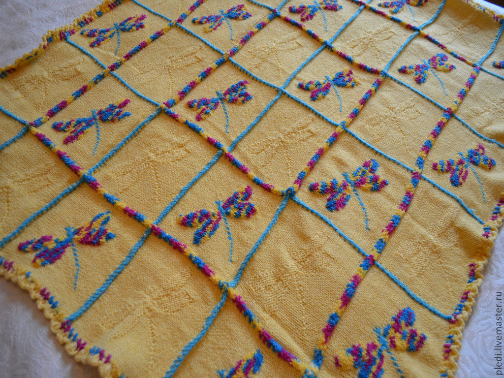 plaid 'rainbow dragonflies', Blankets, Moscow, Фото №1