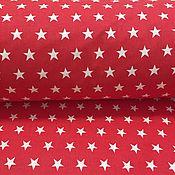 Материалы для творчества ручной работы. Ярмарка Мастеров - ручная работа 100% хлопок, Польша, белые звезды на красном фоне. Handmade.