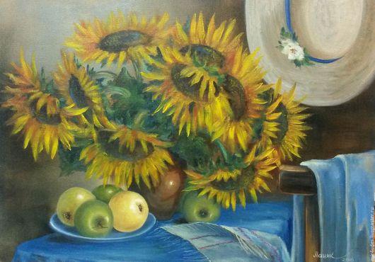 Картины цветов ручной работы. Ярмарка Мастеров - ручная работа. Купить Подсолнухи. Handmade. Оранжевый, желтый, подсолнухи, шляпка