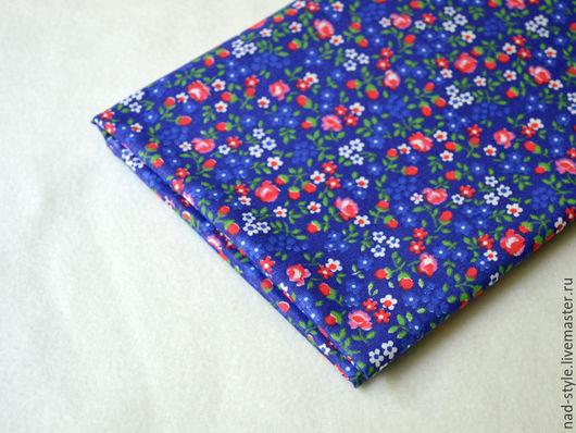 Шитье ручной работы. Ярмарка Мастеров - ручная работа. Купить Ткань в мелкий цветочек, бязь.. Handmade. Тёмно-синий