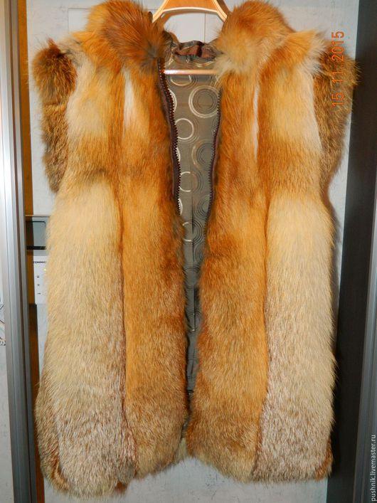 Жилеты ручной работы. Ярмарка Мастеров - ручная работа. Купить Жилетка из меха лисы с капюшоном. Handmade. Жилетка из меха, капюшон