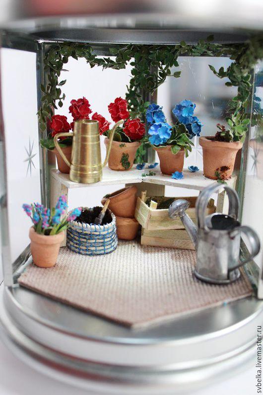 Кукольный дом ручной работы. Ярмарка Мастеров - ручная работа. Купить Светильник Зимний сад. Handmade. Разноцветный, цветы, ткань