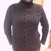 Одежда ручной работы. Ярмарка Мастеров - ручная работа Свитер черный с косами. Handmade.