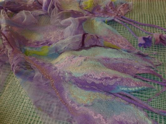 Шарфы и шарфики ручной работы. Ярмарка Мастеров - ручная работа. Купить Валяный шарф Травы да цветы(2). Handmade. Сиреневый, мятный