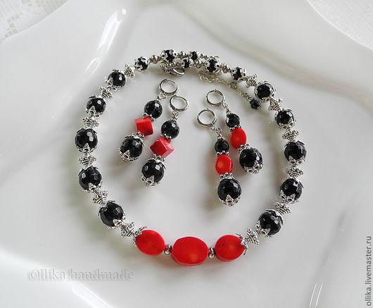 Серьги Мортиша серьги с кораллом, серьги с камнями, ollika handmade, серьги с агатом, длинные серьги, серьги длинные, серьги с подвесками, красно-черные серьги, серьги красно-черные, ollika ольга дми