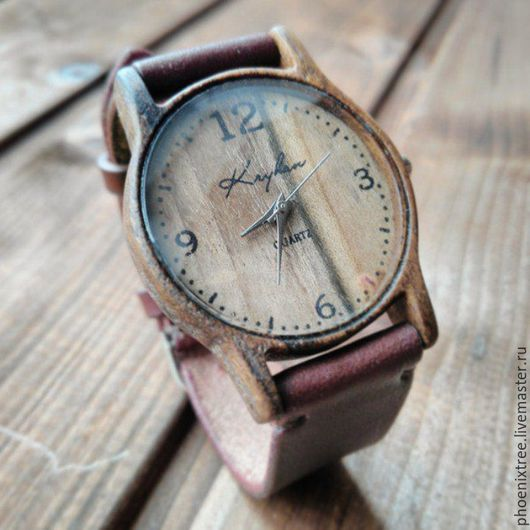 """Часы ручной работы. Ярмарка Мастеров - ручная работа. Купить Деревянные часы PT """"Krigan"""" (орех) наручные, коричневый ремешок. Handmade."""