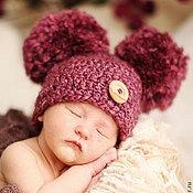 Работы для детей, handmade. Livemaster - original item Beanie with POM-POM crochet. Handmade.