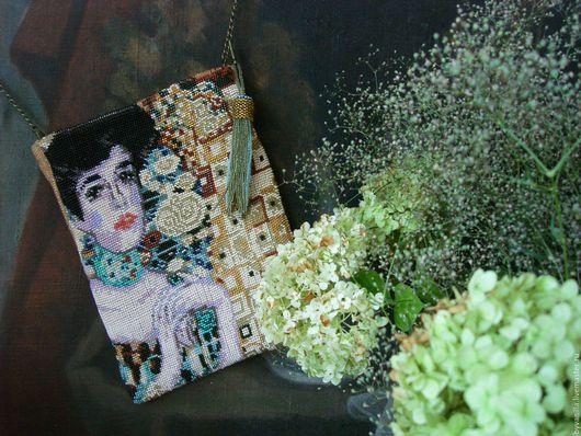 Женские сумки ручной работы. Ярмарка Мастеров - ручная работа. Купить Сумочка из бисера по мотивам портрета Адель Г. Климта. Handmade.