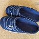 """Обувь ручной работы. Валяные тапки """"Морские"""" мужские синие. Ирина (Irina-iresh). Ярмарка Мастеров. Тапки мужские"""