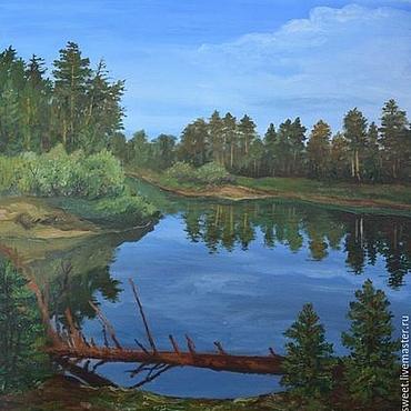 Картины и панно ручной работы. Ярмарка Мастеров - ручная работа Картина маслом летний пейзаж с рекой на холсте 40х50. Handmade.