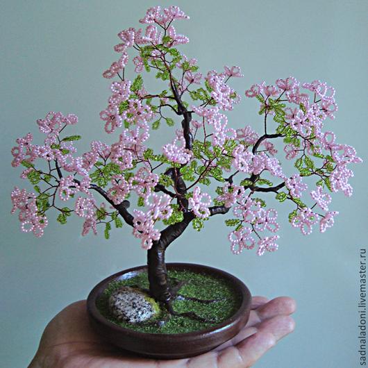 Дерево из бисера Сакура (мини) 2. Дерево любви, удачи и долголетия. Авторская ручная работа. Сад на ладони. Ярмарка мастеров.