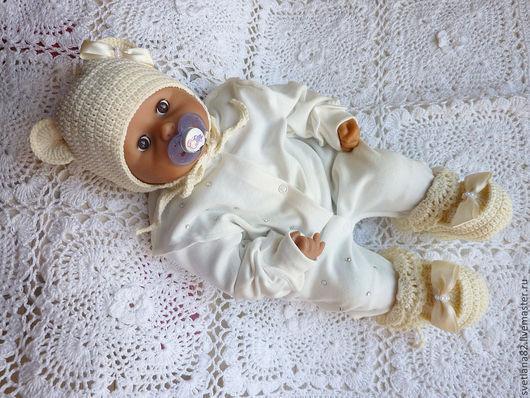 """Для новорожденных, ручной работы. Ярмарка Мастеров - ручная работа. Купить Комплект """"Мишка-девочка"""". Handmade. Кремовый, комплект для девочки"""