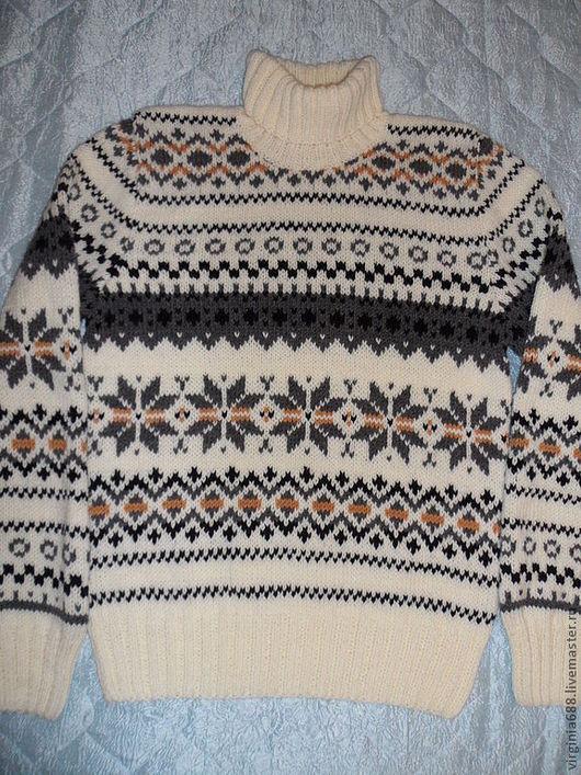Для мужчин, ручной работы. Ярмарка Мастеров - ручная работа. Купить мужской свитер  СLASSIK. Handmade. Чёрно-белый