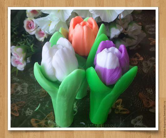 """Материалы для косметики ручной работы. Ярмарка Мастеров - ручная работа. Купить 3D форма силиконовая """"Тюльпан с листьями средний"""" (2 формы). Handmade."""