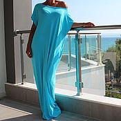 Одежда ручной работы. Ярмарка Мастеров - ручная работа Бирюзовое пляжное летнее макси платье, кафтан, абайя. Handmade.