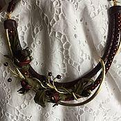 Necklace handmade. Livemaster - original item Necklace made of leather and natural pomegranates.. Handmade.