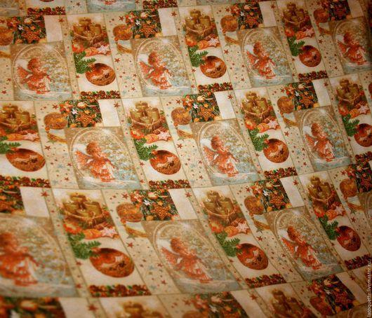 Шитье ручной работы. Ярмарка Мастеров - ручная работа. Купить Немецкая новогодняя ткань. Handmade. Ткань для пэчворка, хлопок для пэчворка