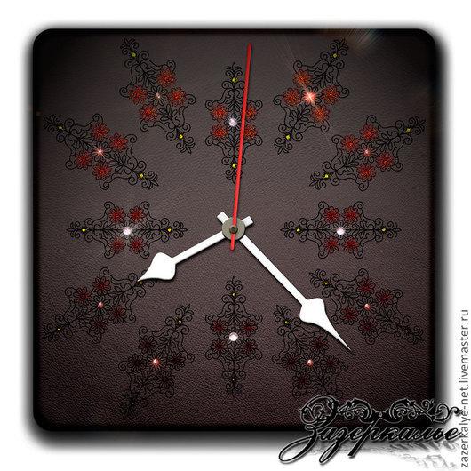 """Часы для дома ручной работы. Ярмарка Мастеров - ручная работа. Купить Настенные часы из кожи  """"Энигма"""". Handmade. Подарок на новый год"""
