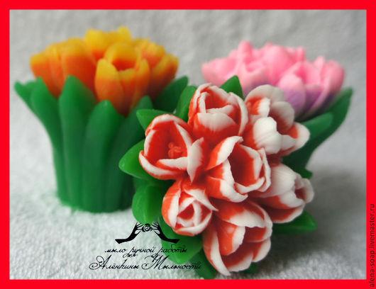 """Мыло ручной работы. Ярмарка Мастеров - ручная работа. Купить """"Весений букет"""" мыло на 8 марта. Handmade. Разноцветный, тюльпаны"""