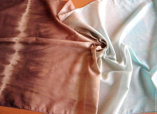 Шарфик хлопковый `Бирюзовый шоколад` (батик). (53х190 см.) Ярмарка мастеров.